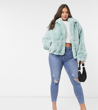 Sixth June Plus oversized jacket in faux fur with logo
