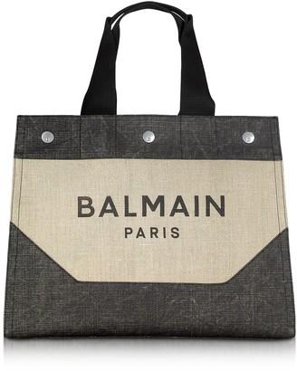 Balmain Beige And Black Signature Mens Tote Bag