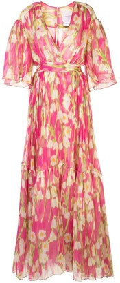 Carolina Herrera Floral Print Silk Long Dress