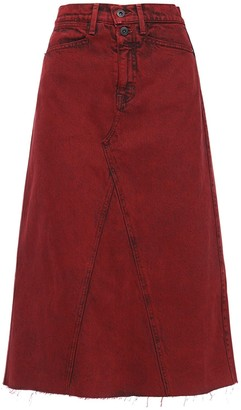 Proenza Schouler White Label High Waist Cotton Denim Midi Skirt