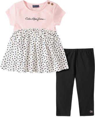 Calvin Klein Jeans Girls' Casual Dresses 2012 - Pink Dot 'Calvin Klein' Empire-Waist Tunic & Black Leggings - Infant, Toddler & Girls