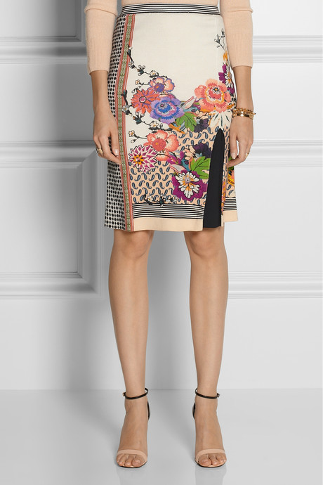 Printed knitted silk skirt