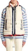 Moncler Faux-Fur Puffer Vest w/ Contrast Trim