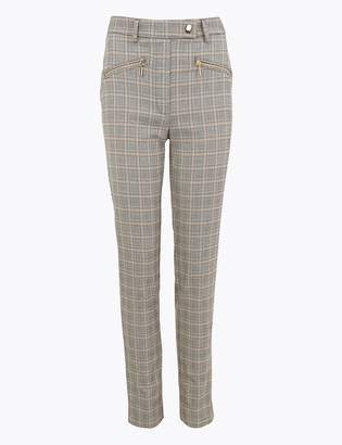 M&S CollectionMarks and Spencer Mia Zip Checked Slim Ankle Grazer Trousers