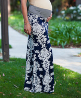 Navy & Cream Damask Under-Belly Maternity Maxi Skirt