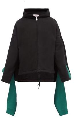 Martine Rose Draped-panel Cotton-jersey Hooded Sweatshirt - Black