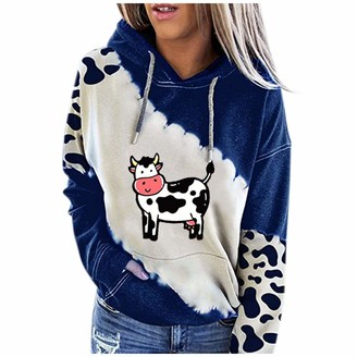 Scbfdi Ladies Autumn and Winter Fashion Warm Hoodie Personalized Trendy Floral Print Sweater Long Sleeve Drawstring Casual Pullover