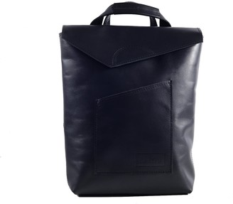 Cardamom Natural Leather Convertible Backpack - Dark Blue