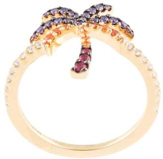 APM Monaco Sterling Silver Palm Tree Ring