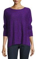 Eileen Fisher Long-Sleeve Linen-Blend Slub Top w/ Pockets, Plus Size
