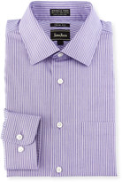 Neiman Marcus Trim-Fit Non-Iron Striped Dress Shirt, Purple