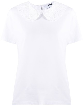 MSGM Lace-Trimmed Polo Shirt