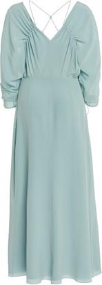 Victoria Beckham Ruched Silk Midi Dress