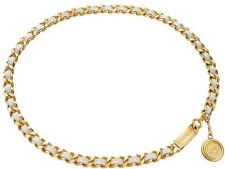 Chanel Gold & White Leather Chain Belt