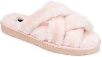 Journee Collection Quiet Faux Fur Slide Sandal