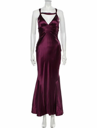 J. Mendel V-Neck Long Dress Purple