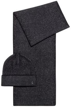 HUGO BOSS Knitted scarf and hat set with metallic yarn