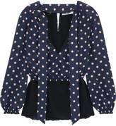 Balenciaga Polka-dot Silk Crepe De Chine Blouse - Navy