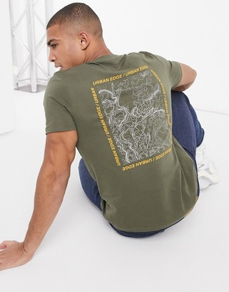 Jack and Jones Core t-shirt with back print in relaxed fit khaki
