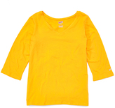 Soffe Light Gold Three-Quarter Sleeve V-Neck Tee - Plus Too