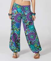 Aller Simplement Purple & Blue Floral Harem Pants