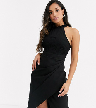 Paper Dolls Petite wrap front midi dress with lace top in black
