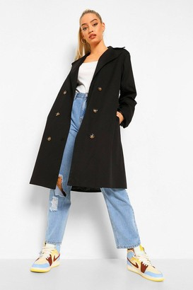 boohoo O Ring Detail Belted Trench Coat