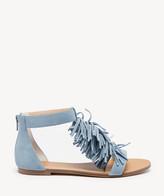 Sole Society Women's Koa Fringe Flat Sandals Caramel Size 5 Suede From