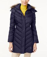 Kenneth Cole Petite Faux-Fur-Trim Chevron Down Puffer Coat