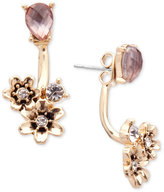 lonna & lilly Gold-Tone Stone and Flower Front and Back Earrings