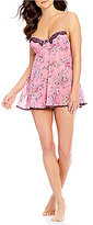 Cinema Etoile Vanessa Collection Lace-Trimmed Floral Chiffon Robe & Babydoll Set