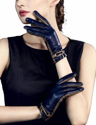 YISEVEN Women Sheepskin Leather Gloves Rope Knot for Winter Warm Lined Heated Lining Stylish Elegant Dress Driving Motorcycle gift Navy Blue Large