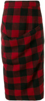 Marni ruched checked pencil skirt