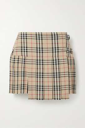Burberry Pleated Checked Wool Mini Skirt - Beige