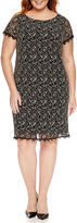 London Times London Style Collection Short Sleeve Metallic Lace Sheath Dress-Plus