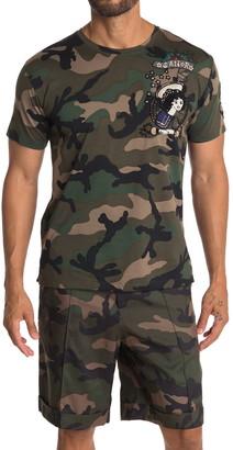 Valentino Camo Printed Beaded T-Shirt