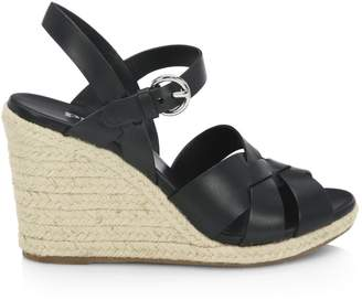 Prada Leather Espadrille Wedge Sandals
