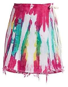 Riley Women's Guilty Pleasures Tie-Dye Denim Wrap Skirt