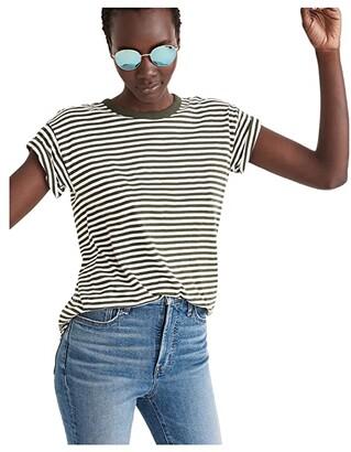 Madewell Sorrel Whisper Crew Neck Tee in Warhol Stripe (Dark Forest) Women's Clothing