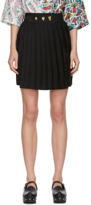 Charles Jeffrey Loverboy Black Wool Kilt Miniskirt