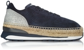 Hogan Deep Blue Perforated Suede Lace Up Sneakers w/Glitter