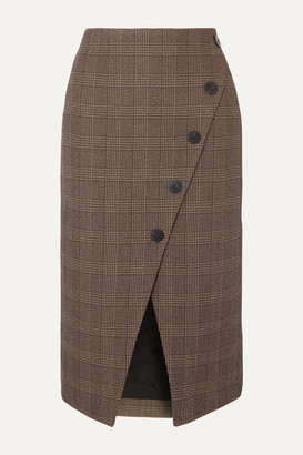 Cefinn Selby Wrap-effect Prince Of Wales Checked Cotton-blend Midi Skirt - Brown