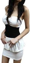 Allegra K Women Sexy Strapless Corset Mini Peplum Dress Clubwear