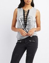 Charlotte Russe Graphic Lace-Up Tank Top