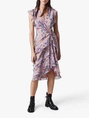 AllSaints Reila Masala Snake Print Wrap Dress, Mink Pink