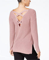 Hippie Rose Juniors' Ribbed Crisscross V-Back Sweater