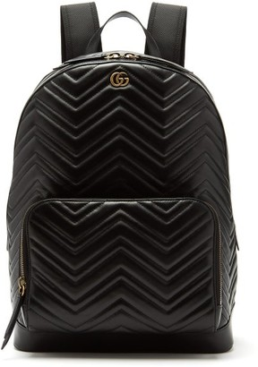 Gucci Marmont Leather Backpack - Mens - Black
