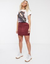 Only faux suede mini skirt in burgundy