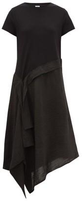 Loewe Asymmetric Jersey-satin T-shirt Dress - Black