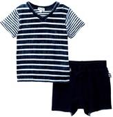 Splendid Mix Indigo Stripe Top & Short Set (Baby Boys)